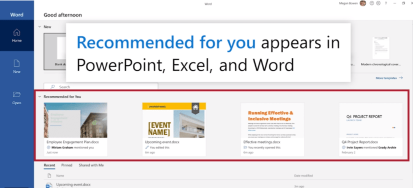 Microsoft Office 365 simplifies workflow by displaying Recommended files